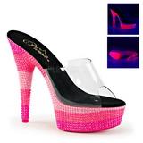 Růžový 15 cm DELIGHT-601UVS neon platformy pantoflicky dámské