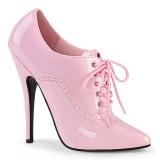 Růžový 15 cm DOMINA-460 oxford boty na vysoké podpatky