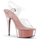 Růžový 15 cm Pleaser DELIGHT-608 Vysoké Podpatky Chrom Platformě