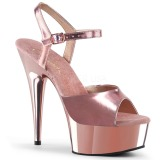 Růžový 15 cm Pleaser DELIGHT-609 Chrom Platformě Vysoké Podpatky