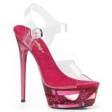 Růžový 16,5 cm ECLIPSE-608DM sandály s jehlovým podpatkem