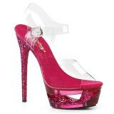 Růžový 16,5 cm ECLIPSE-608GT sandály s jehlovým podpatkem