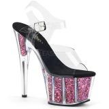 Růžový 18 cm ADORE-708CG třpyt boty na platformě a podpatku