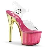 Růžový 18 cm ADORE-708MCT Akryl boty na platformě a podpatku