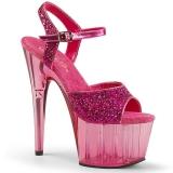 Růžový 18 cm ADORE-710GT třpyt boty na platformě a podpatku