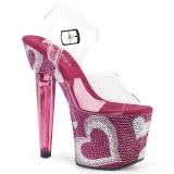 Růžový 18 cm LOVESICK-708HEART Třpytivé Kamínky dámské boty na vysokém podpatku