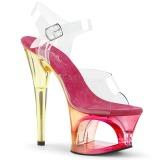 Růžový 18 cm MOON-708MCT Akryl boty na platformě a podpatku