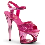 Růžový 18 cm MOON-710GT třpyt boty na platformě a podpatku