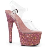 Růžový 18 cm Pleaser ADORE-708LG Boty na podpatku pro tanec na tyči