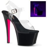 Růžový 18 cm SKY-308TT Neon boty na platformě a podpatku 57141d64ca