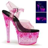 Růžový 18 cm SKY-308UVMG Neon Platformě Sandály Podpatky
