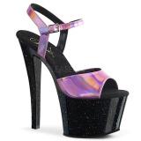 Růžový 18 cm SKY-309HG Hologram boty na platformě a podpatku