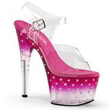 Růžový 18 cm STARDUST-708T Platformě Sandály Podpatky