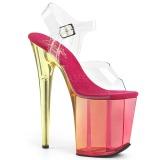 Růžový 20 cm FLAMINGO-808MCT sandály pro tanec na tyči