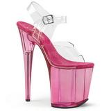 Růžový 20 cm FLAMINGO-808T Akryl Platformě Sandály Podpatky