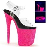 Růžový 20 cm FLAMINGO-808UVG Neon Platformě Sandály Podpatky