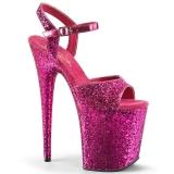Růžový 20 cm FLAMINGO-810LG třpyt boty na platformě a podpatku