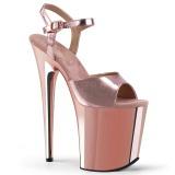 Růžový 20 cm Pleaser FLAMINGO-809 Vysoké Podpatky Chrom Platformě