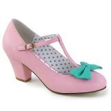 Růžový 6,5 cm WIGGLE-50 Pinup lodičky boty na tlustém podpatku