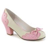 Růžový 6,5 cm retro vintage WIGGLE-17 Pinup lodičky boty na tlustém podpatku