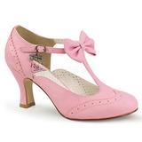 Růžový 7,5 cm retro vintage FLAPPER-11 Pinup lodičky boty s nízkým podpatkem