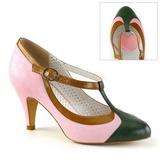 Růžový 8 cm retro vintage PEACH-03 Pinup lodičky boty s nízkým podpatkem