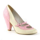 Růžový 9,5 cm retro vintage POPPY-18 Pinup lodičky boty s nízkým podpatkem