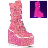 Růžový Glitter 14 cm SWING-230G kozačky cyberpunk na platformy
