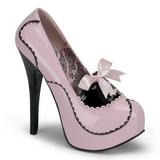 Růžový Lak 14,5 cm Burlesque BORDELLO TEEZE-01 Platformě Lodičky Dámské