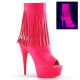 Růžový Neon 15 cm DELIGHT-1019 Kotníkové Kozačky s třásněmi na podpatku