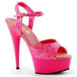 Růžový Neon 15 cm Pleaser DELIGHT-609UVG Platformě Vysoké Podpatky