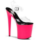 Růžový Neon 20 cm Pleaser FLAMINGO-808UV Vysoké Podpatky Platformě