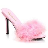 Růžový Peří 10 cm CLASSIQUE-01F Pantofličky na Podpatku pro Muže