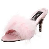 Růžový Peří 8 cm AMOUR-03 Pantofličky na Podpatku pro Muže