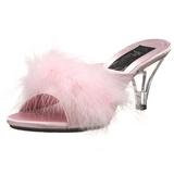Růžový Peří 8 cm BELLE-301F Pantofličky na Podpatku pro Muže