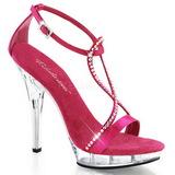 Růžový Satén 13 cm LIP-156 Dámské Sandály Podpatky