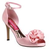 Růžový Satén 9,5 cm ROSA-02 Dámské Sandály Podpatky
