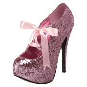 Růžový Třpyt 14,5 cm TEEZE-10G Concealed burlesque Lodičky Dámské Stiletto Podpatků