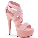 Růžový elastický pás 15 cm DELIGHT-669 pleaser boty na podpatku