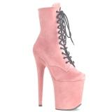 Růžový faux suede 20 cm FLAMINGO-1020FS kotníkové kozačky pro tanec na tyči