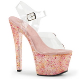 Růžový kamínky 18 cm CRYSTALIZE-308TL Večerní Sandály s podpatkem