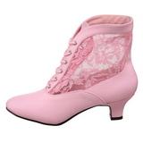 Růžový krajky tkaniny 5 cm DAME-05 Bílé Dámské Kozačky s Tkaničkami
