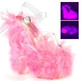 Růžový peří marabu 18 cm ADORE-708F Boty pro tanec na tyči