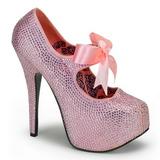 Růžový štrasovými kamínky 14,5 cm Burlesque TEEZE-04R Platformě Lodičky Dámské