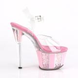 Růžový třpytky 18 cm SKY-308OF Sandály na podpatku pro tanec na tyči