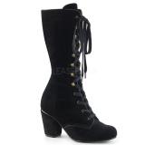 Samet 7,5 cm VIVIKA-205 Viktoriánské kotníkové boty