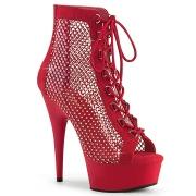 Síťovina strass 15 cm DELIGHT kotníkové boty s tkaničkami v cerveny