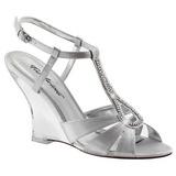 Stříbro 10,5 cm LOVELY-420 Klínové Sandály Podpatky