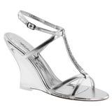 Stříbro 10,5 cm LOVELY-428 Klínové Sandály Podpatky