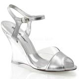 Stříbro 10,5 cm LOVELY-442 Klínové Sandály Podpatky